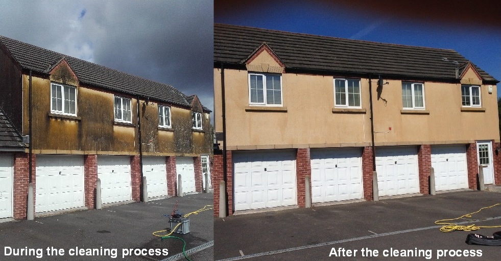 before and after picture of render cleaning
