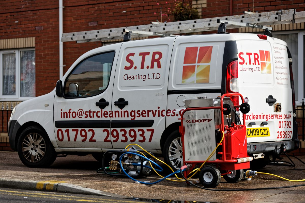STR Cleaning Services, cleaning a block of flats in Neath, Wales, UK